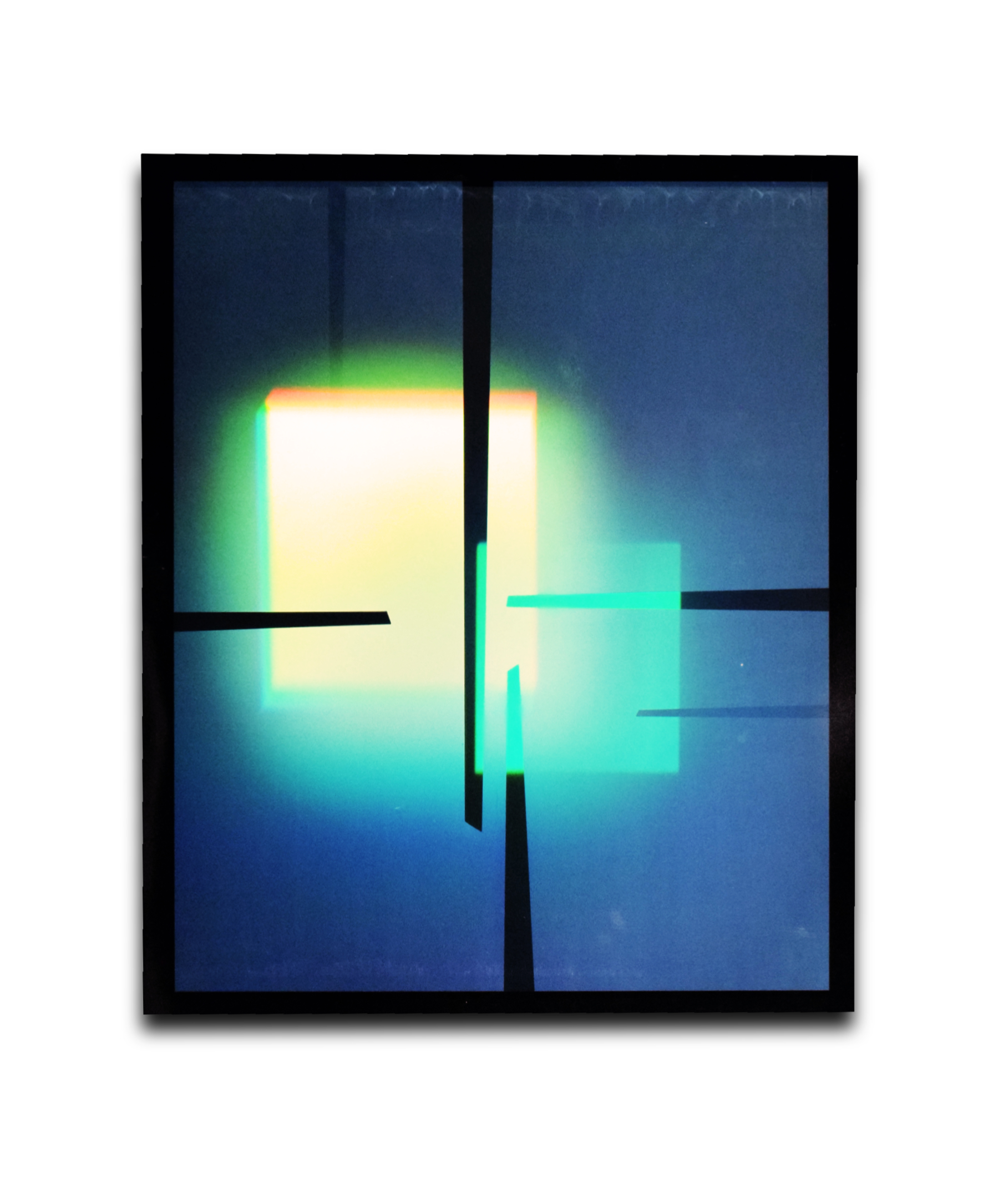 August Muth Bathing in Ether, art hologram of sbatract squres with photoluminescent pigment