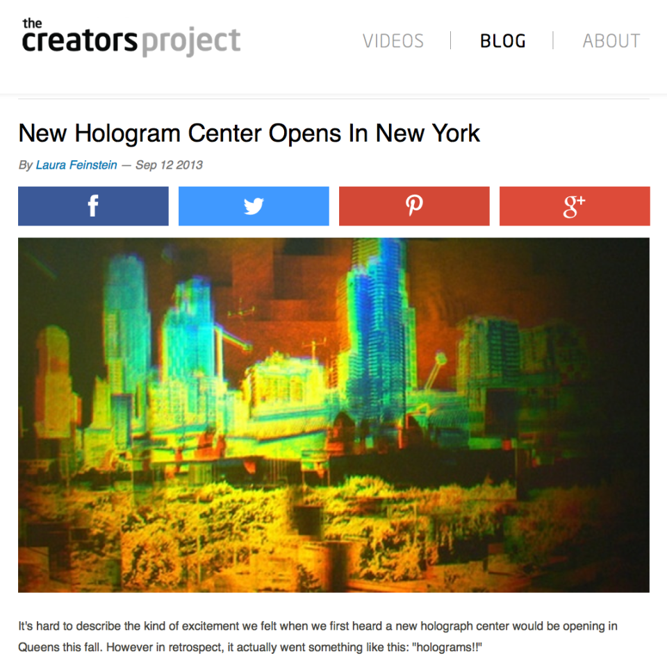 Creators Project VICE HoloCenter article