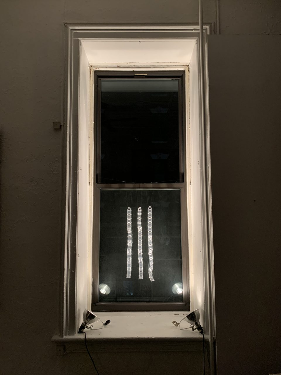 Cynthia Reynolds air cushion: one-inch square, six excised chambers Light Windows installation Mulberry Street
