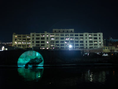 """Emily Allyn Andersen """"Greetings From The Canal"""" Site-Specific Outdoor Projection Installation, Anable Basin/Plaxall Gallery, 2020"""