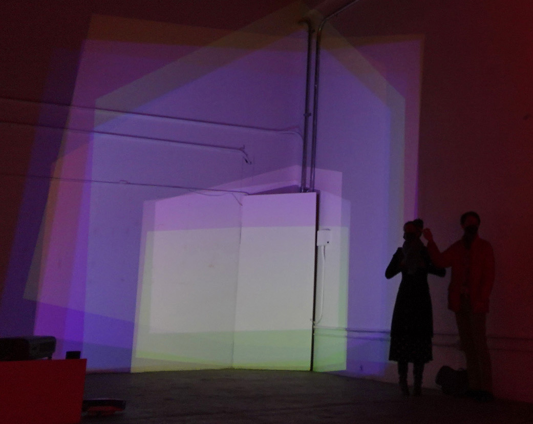 Ed Bear Nine Degrees of Freedom (2020), Installation with nice video projectors at Edge of Light