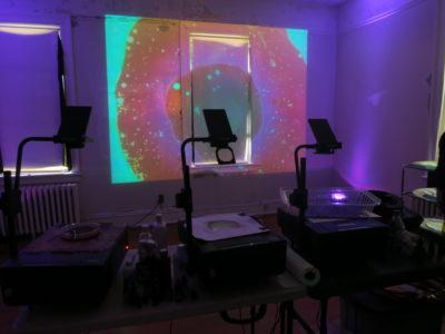 Steve Pavlovsky liquid light show workshop at the Holocenter on Governors Island