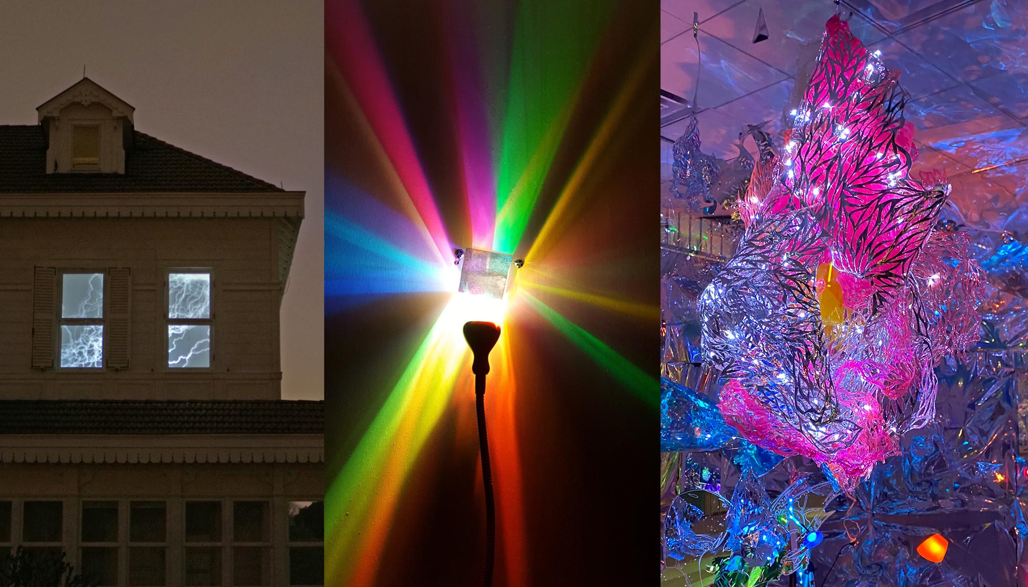 Three artists installations for LIGHT WINDOWS by Rosa Wernecke | Jürgen Eichler | Julia Sinelnikova aka ORACLE666