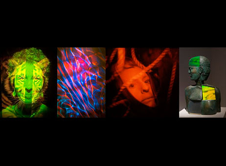 Image of four holograms by artists Margaret Benyon, Rudie Berkhout; Ana Maria Nicholson and Dan Schwitzer