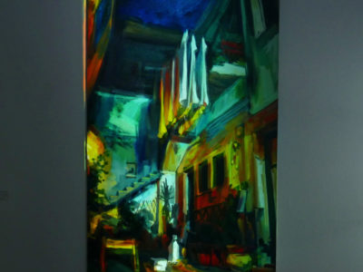 Raisa Nosova painting with projection