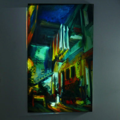 Raisa Nosova painting with projection