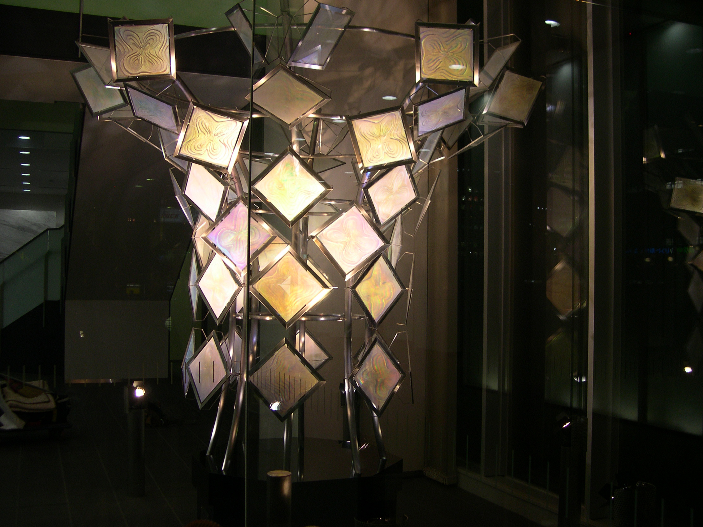 Setsuko Ishii Gift from Future optical sculpture with 64 hologram panels
