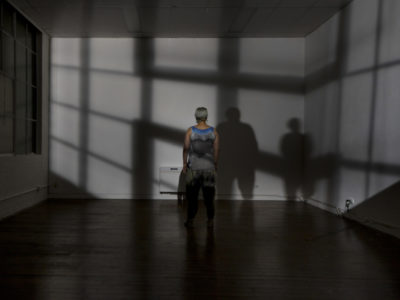 Yandell Walton presents an installation of collage and interactive video projection