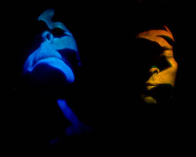 Image of pulse laser holograms of and created by the artists Ana Maria Nicholson and Rudie Berkhout